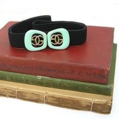 Vintage Retro Mint Green and Gold Elastic Belt by curtainroad