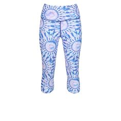 Tikiboo's Dream Catcher Length Lycra Workout Pants Feature Blue, White And Hints Of Pink To Create A Mesmerising Tie-Dye Print. They're Soft As A Cloud And Light As A Feather Even During Tough, Sweaty Sessions. Workout Pants, Squats, Pilates, Crossfit, Dream Catcher, Cloud, Tie Dye, Capri, Feather