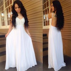White prom dress,V-neck prom dress,backless long prom gown,chiffon lace long evening gowns