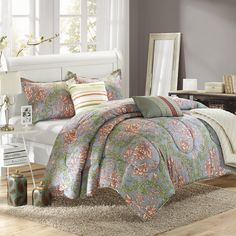 Antica 10-Piece Luxury Bed-in-a-Bag Reversible Comforter Set Queen Size, Printed; Comes With Quilt, Shams, Sheet Set and Decorative Pillows. #LuxBed