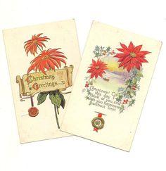PAIR of Embossed Vintage Christmas Postcards by TheOldBarnDoor
