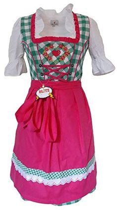 Blitz Dirndl 3 tlg. Trachtenkleid Kleid, Bluse, Schürze, ca. 90cm Größe : 34 bis 42 (34, Grün&Weiß&Fuchsia) Blitz Dirndl http://www.amazon.de/dp/B010OK9NR6/ref=cm_sw_r_pi_dp_0i6Uvb0N35EGT
