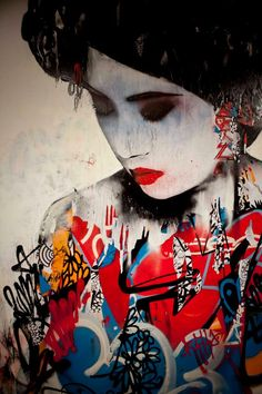 UK-based artist Hush just opened up a brand new solo at Metro Gallery in Melbourne, Australia. Called Sirens, it includes this gorgeous, bright and colorful mural of the female form painted inside the gallery.