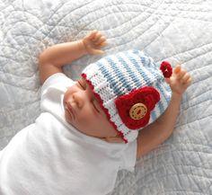 Valentine Baby Hat Newborn boy  Cotton  by TheStitcheryBoutique, $23.00