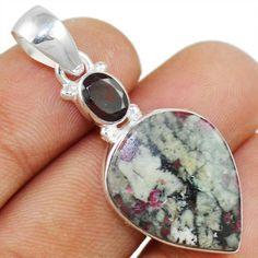 Eudialyte & Rubellite 925 Sterling Silver Pendant Allison Co Jewelry P-3716 #Allisonsilverco