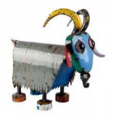 Billy the Goat Outdoor Garden Sculpture from Earth Homewares using recycled oil drums! Animal Garden Ornaments, Metal Garden Ornaments, Recycled Garden, Recycled Art, Metal Projects, Metal Crafts, Garden Deco, Garden Art, Modern Sculpture