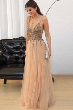 A-Line Deep V-Neck Floor-Length Champagne Tulle Prom Dress with Beading