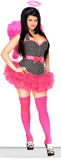 The Violet Vixen - Pinup Angel Black Corset Costume, $86.00 (http://thevioletvixen.com/halloween/plus-size-corset-costumes/pinup-angel-black-corset-costume/)