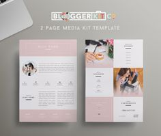 Beauty Blogger | Two-Page Media Kit Template | Pink Media Kit | Blogger Kit Co.