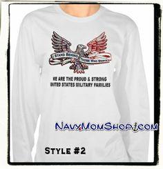Ladies long sleeve shirt supporting ALL Military Families! #Navy #Army #Marines #AirForce #CoastGuard #NationalGuard - NavyMomShirts.com