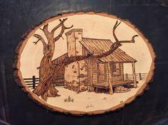 Old House wood burnt art