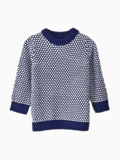 Blue Crew Neck Knit Top In Houndstooth