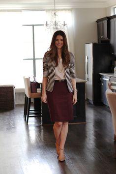 Veronikas Blushing    burgundy pencil skirt ...