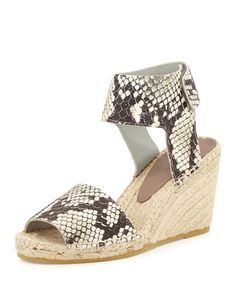 Sophie Python-Print Leather Espadrille Wedge, Black/White by Vince at Bergdorf Goodman.