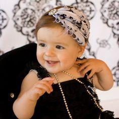 Baby Headband, Feather Headband, White Black, Ruffled Elastic, Ready To Ship, All Sizes, You Choose, Party Wear, Photo Prop