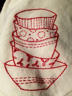 Redwork tea towels