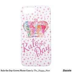 Rule the Day Crown Phone Case with pink polka dots for iPhone and Samsung phones.