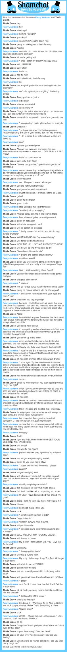 A conversation between Thalia Grace and Percy Jackson