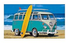 SURF'S UP WITH A CLASSIC blue and white VW BUS FROM HASEGAWA