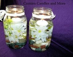Mason Jar Centerpieces with Candles | Rustic centerpiece Mason Jar and daisies by CustomCandlesandMore, $24 ...