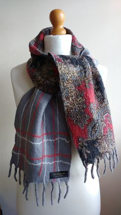 red and grey felted scarf nuno felted scarf by HandmadeGalleryTrim