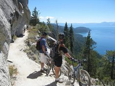 Flume Trail overlooks the North Shore of Lake Tahoe Lake Tahoe Vacation, Summer Vacation Spots, Bike Trails, Hiking Trails, Lake George Village, Reno Tahoe, California Camping, Mountain Biking, Places To Go