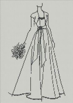0 point de croix robe de mariée silhouette monochrome - cross stitch wedding gown, bride