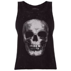 DASH Eleven Paris Darn W Skull Tank ($34) ❤ liked on Polyvore featuring tops, shirts, skull top, scoop neck tank, skull tank, skull tank tops and scoop neck top