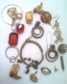 Costume Jewelry Parts for Repairs or Crafts by MICSVINTAGE on Etsy