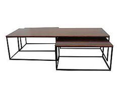 3 Tables basses, acajou et fer - naturel et noir
