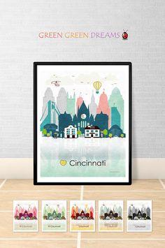 Cincinnati print Poster Wall art Cincinnati Ohio Cincinnati skyline City poster printable download Home Decor Digital Print GreenGreenDreams