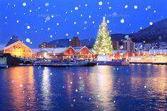 夜景のはこだてクリスマスファンタジーと金森倉庫 (c)MASAMI GOTO/SEBUN PHOTO Hakodate, Beautiful Scenery, Xmas, Christmas, Japan, Night, World, Places, Travel