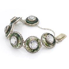 Mid Victorian Moss Agate and Rock Crystal Quartz Circular Plaque Bracelet, circa 1870