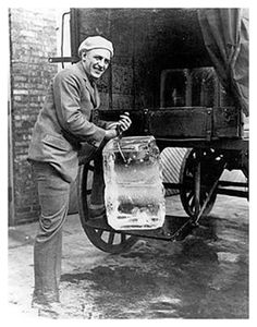 """The """"Iceman"""" brought chunks of ice for our moms refrigerators.  ***Pappy had to drive into town to the ice house to buy a block of ice.  He carried it home on the front bumper of the car, and it melted and straddled the bumper like it was riding a horse...njoyG"""