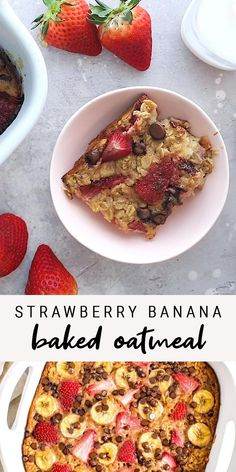 This strawberry banana baked oatmeal recipe is the perfect make ahead breakfast. Strawberry, banana and chocolate… what could be better? Perfect for brunch, breakfast and meal prepping!  #eatingbirdfood #bakedoatmeal #strawberrybanana #chocolatechip #healthybreakfast #mealprep #cleaneating Healthy Meal Prep, Healthy Breakfast Recipes, Clean Eating Recipes, Brunch Recipes, Cooking Recipes, Whole30 Breakfast Ideas, Oatmeal Breakfast Recipes, No Egg Breakfast, Yummy Breakfast Ideas