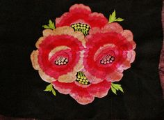 Pink and Red Embroidered Roses Remnant Black by LovelyOldLinens