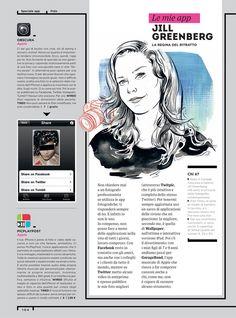 Jill Greenberg - illustration by Jacqui Oakley for Wired Italia Graphic Design Resume, Brochure Design, Editorial Layout, Editorial Design, Page Design, Tool Design, Web Design Trends, Design Web, Design Ideas