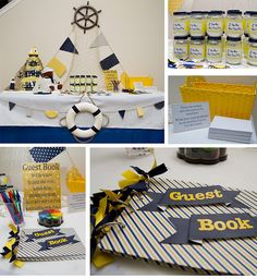 Life in print: A Navy, White & Yellow Nautical Baby Shower #baby #shower #decor