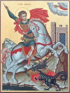 Hl Georg, Saint George And The Dragon, Christian Mysticism, Byzantine Icons, Orthodox Icons, St Michael, Religion, Statue, Saints