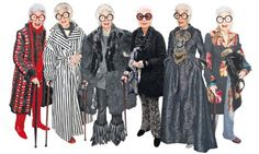 An Apfel a day: Iris Apfel in some of her unique outfits. Photograph: Rex Features/WireImage/Caroline Torem Craig/Guardian montage
