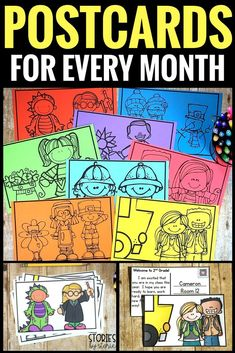 Students love to receive mail from their teacher! Postcards are a quick and easy way to jot a personal note to your students. You could also set up a pen pal writing center. This pack includes 12 postcards, one for each month of the year. These can be pri