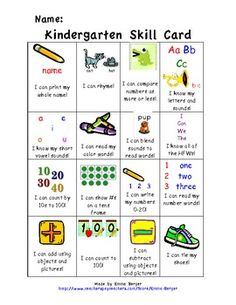This is a Skill Card used to keep track of students' progress throughout the year using Common Core. It is designed to be used like a punch card.clever idea o apply to Spanish skills. I can____ statements Kindergarten Goals, Kindergarten Assessment, Kindergarten Activities, Preschool Songs, Summer Activities, Too Cool For School, School Fun, Pre School, School Ideas