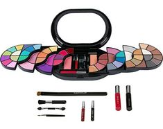 Beauty Essentials 32 Color Portable Wallet Type Eyeshadow Tray Leather Eye Shadow Pearl Combination Eye Shadow Stick Lip Brush Makeup Mirror Blush Beauty & Health