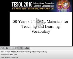 Free presentation from the 2016 TESOL Convention about how teaching vocabulary has changed over the past 50 years.
