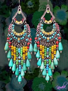 Long Colorful Beaded Chandelier Earrings, Large Exotic Jewelry, Turquoise and Bronze, Ethnic, African, Bohemian-MTO