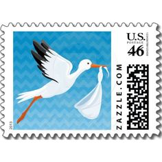 Blue Ombre Chevron Stork Baby Postage Stamp $22.95