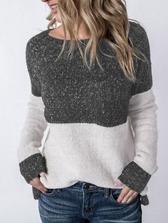 Mode Simple, Casual Tops For Women, Color Block Sweater, Pullover Sweaters, Women's Sweaters, Pulls, Long Sleeve Tops, Sweaters For Women, Shirts