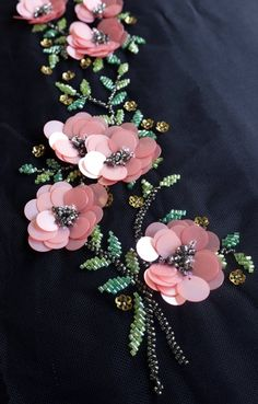 Handmade pattern with pink sequin flowers and beaded leaves, Handgemachtes Muster mit rosa Paillettenblumen und perlenbesetzten Blättern, # Handmade pattern with pink sequin flowers and … - Bead Embroidery Patterns, Flower Embroidery Designs, Bead Embroidery Jewelry, Hand Embroidery Stitches, Silk Ribbon Embroidery, Embroidery Techniques, Sequin Rose, Pink Sequin, Etsy