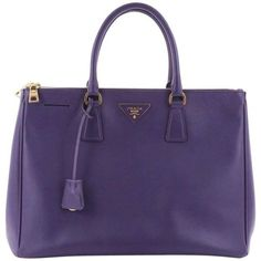Preowned Prada Double Zip Lux Tote Saffiano Leather Large ($1,150) ❤ liked on Polyvore featuring bags, handbags, tote bags, purple, totes, blue tote, handbags totes, tote handbags, tote bag purse and prada tote bag