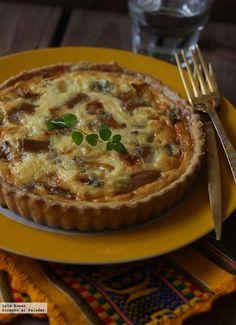 Receta de quiche de calabaza, membrillo y gorgonzola. Receta vegetariana. Con fotos de presentación y del paso a paso y consejos de elaboración y...